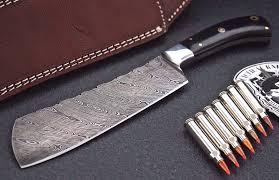 Handcrafted Kitchen Knives Knife Store Cfk Usa Custom Handmade Damascus Buffalo Bison Horn