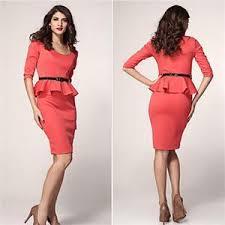 elegant simple fashion women party work dress summer o neck 3 4