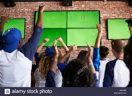 rear view of friends watching game in sports bar celebrating stock
