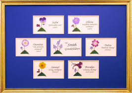 nameme company framed family trees with pressed flowers
