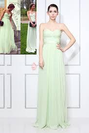 strapless mint green chiffon modest a line long prom dress lunss