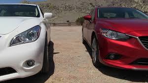 lexus vs infiniti vs bmw 2014 mazda6 vs infiniti m35 hybrid technology mashup review the