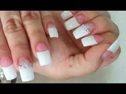 easy clear gel powder pink and white nails tips youtube