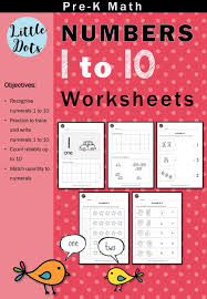 pre k numbers 1 to 10 worksheets and activities little dots