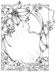 pen drawing style flower border clip art free vector 4vector