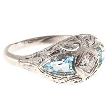 art deco shield cut aquamarine diamond gold ring for sale at 1stdibs
