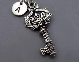 Monogram Key Necklace Secret Garden Key Etsy
