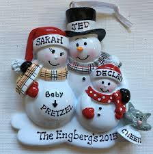 personalized christmas ornament pregnant snowman family with one