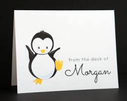 penguin note cards etsy