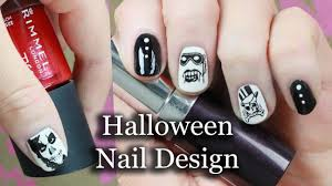 easy halloween nail art black u0026 white stamping design youtube