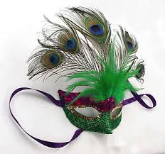 mardi gras feathers mardi gras feather mask w peacock feahter purple green gold