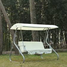 Lounge Swing Chair Outsunny 3 Person Patio Swing Chair W Canopy Shade Cream White