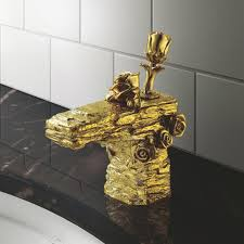 basin faucets gold brass deck mount waterfall bathroom sink faucet