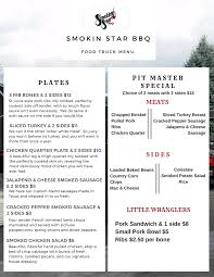 food truck menu smokin u0027 star bbq