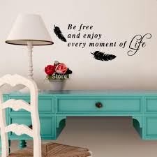 online get cheap wall sticker quotes live every moment aliexpress free and enjoy every moment life quote wall stickers for living room feather art