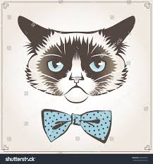 vector illustration grumpy cat dotted bow stock vector 284799632