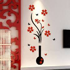 home decor 3d stickers aliexpress com buy wall stickers acrylic 3d plum flower vase