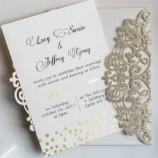 invitation kits luxury gold glittery cupid s arrow polka dots laser cut wedding