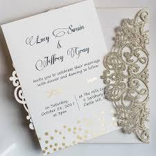 wedding invitation kits luxury gold glittery cupid s arrow polka dots laser cut wedding