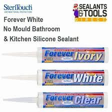 Clear Bathroom Sealant Forever White Silicone Sealant 10yr No Mould Bath Microban White