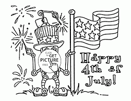american robot fourth of july coloring page for kids coloring