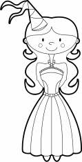 smiling princess character with wand and crown to color stock