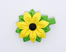 sunflower ribbon sunflower hair bow etsy