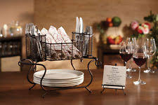 buffet caddy plates napkins utensils holder outdoor picnic party