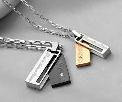 Engraving Necklaces Couple U0027s Promise Necklaces Set With Love Devotion Engravings In