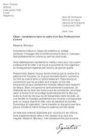 lettre de motivation de cuisine lettre de motivation bac pro cuisine modèle de lettre