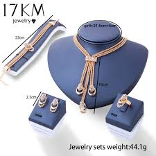color crystal necklace images 17km rose gold color crystal necklace earring bracelet ring set jpg
