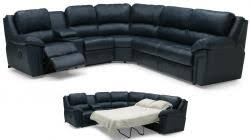 5 seat l shaped black leather sofa with pull out bed for sale