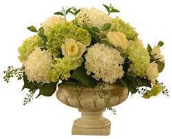 artificial flower white and green hydrangea large silk flower arrangement