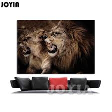lion print aliexpress com buy lion wall art frameless painting one piece