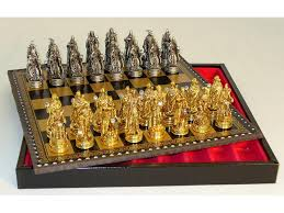 fantasy chess set chess set pewter fantasy crystals chessmen leather chest board