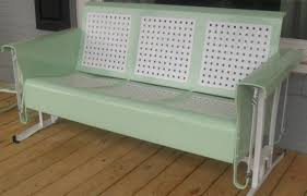 Retro Glider Sofa by Restored Basketweave Metal Three Seat Vintage Old Porch Glider