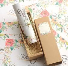 kraft paper wedding invitations 50x free personalized customised printing kraft paper box scroll