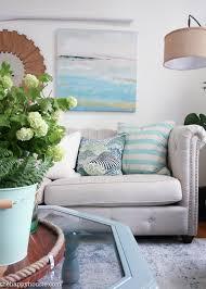 beachy blue u0026 green summer living room tour the happy housie
