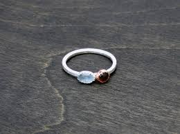 dual birthstone ring may dual birthstone ring sterling silver and copper ring