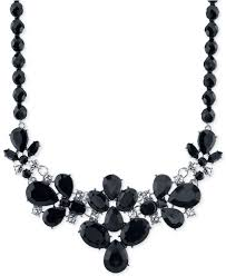 black necklace stone images Lyst 2028 night shade silver tone black stone statement necklace jpeg