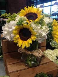 Centerpieces With Sunflowers by Sunflower And Hydrangea In Mason Jars 125th Pinterest