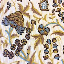 embroidered home decor fabric crewel exquisite chainstitch hand embroidered cotton crewel floral