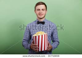 popcorn hairstyle young guy short hairstyle holds popcorn stock photo 317710859