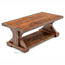 Trestle Coffee Table Weathered Wood Rustic Trestle Coffee Table