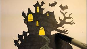 how to draw a haunted house easy step by step for halloween youtube