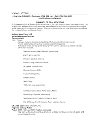 Cosmetology Resume Skills Example Resume Example For Makeup Artist Template