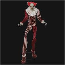 huge 7ft evil clown animated prop mad about horror