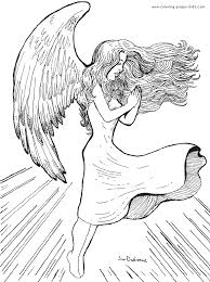 detailed angel colouring pages cool free printable angel coloring