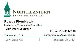 student business card request business cards northeastern state
