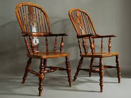 Wooden Arm Chairs Pair Of Broad Arm Burr Yew Wood High Back Windsor Chairs For Sale
